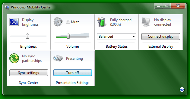 Presentation Settings in Windows 7 or Windows 8
