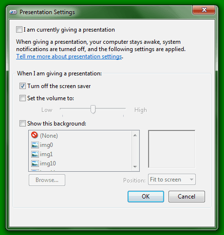 Windows Presentation Settings