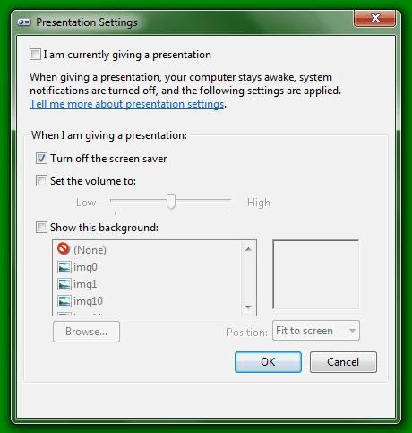 Windows Presentation Settings