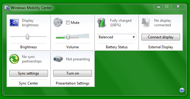 Turn on or off Presentation Settings in Windows