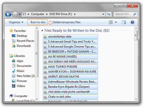 burn a cd or dvd in windows explorer