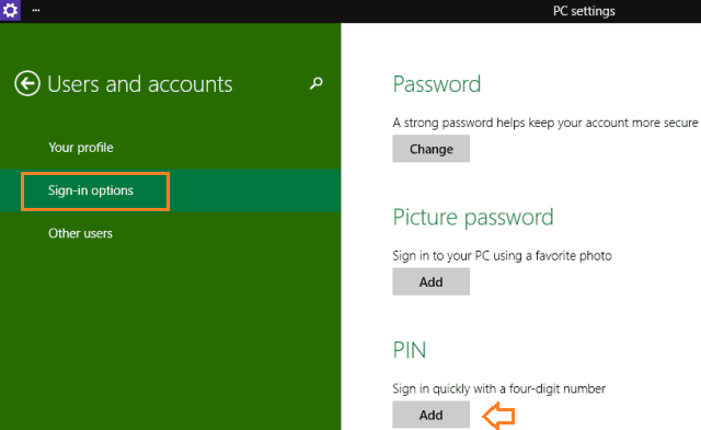create a pin to log in