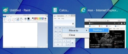 create multiple desktops with task view