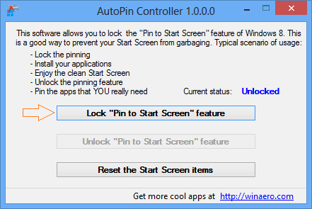 disable pin to start screen feature in windows 8