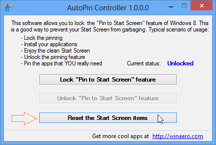 disable pin to start screen feature