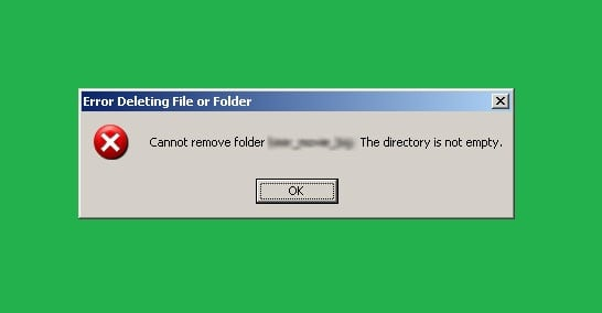 "how to fix ""cannot delete folder: the directory is not empty"" error"