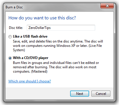 how to burn disc in windows 7