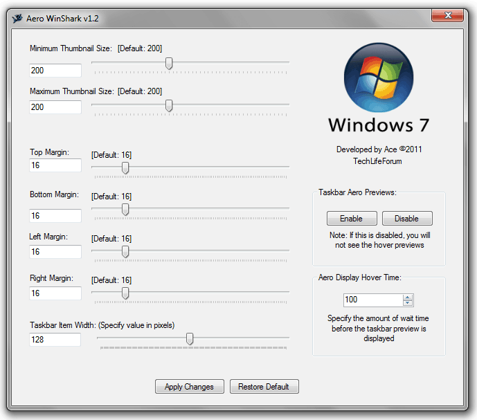 how to change the size of windows 7 taskbar thumbnail preview