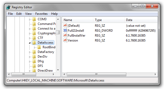 how to check mdac version 0n windows