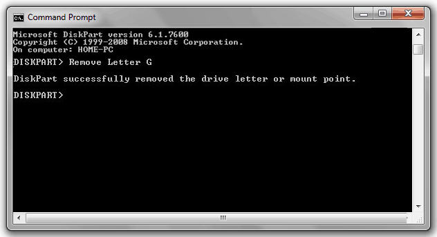 how to hide drives in windows 7 using command prompt