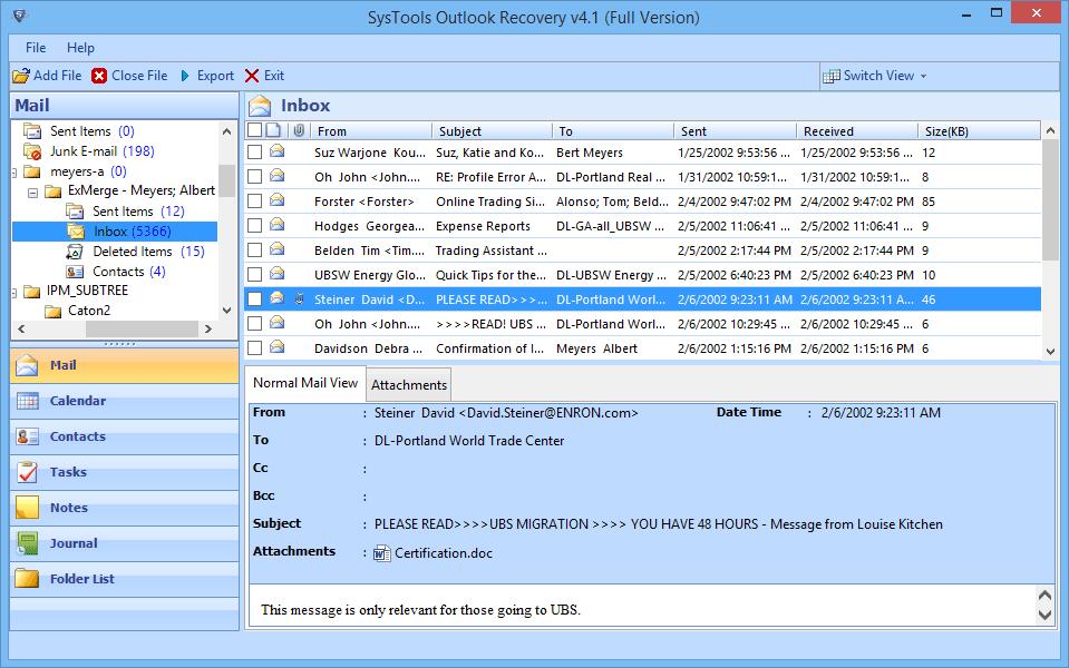 restore pst file