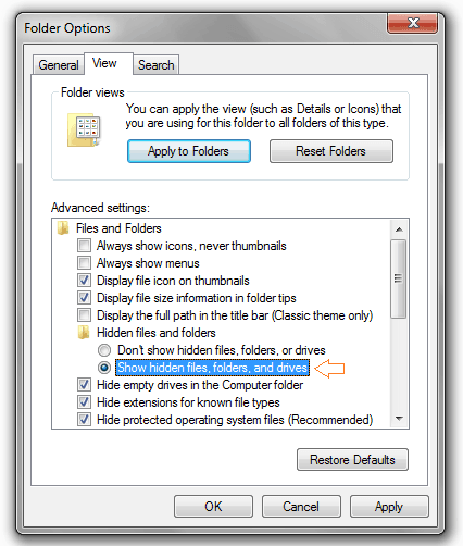 show hidden files in windows 7