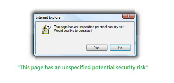 this page has an unspecified potential security risk