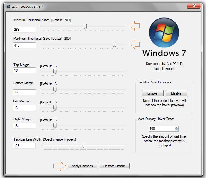windows 7 taskbar thumbnail preview