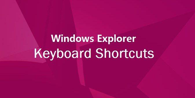windows explorer keyboard shortcuts windows 7
