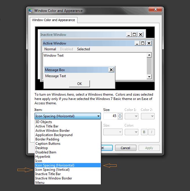 how to adjust icon size on desktop windows 7