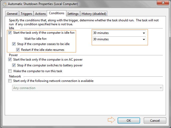 automatically shutdown windows 7