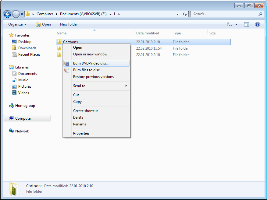 burn cd or dvd from right-click menu in windows