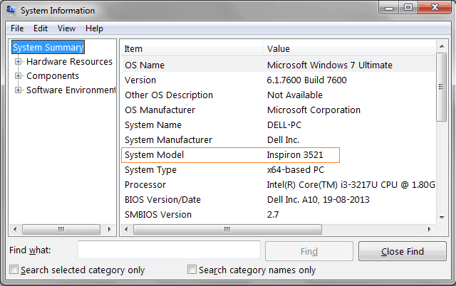computer model name