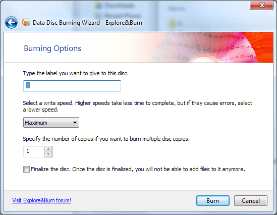 explore&burn cd/dvd burning software
