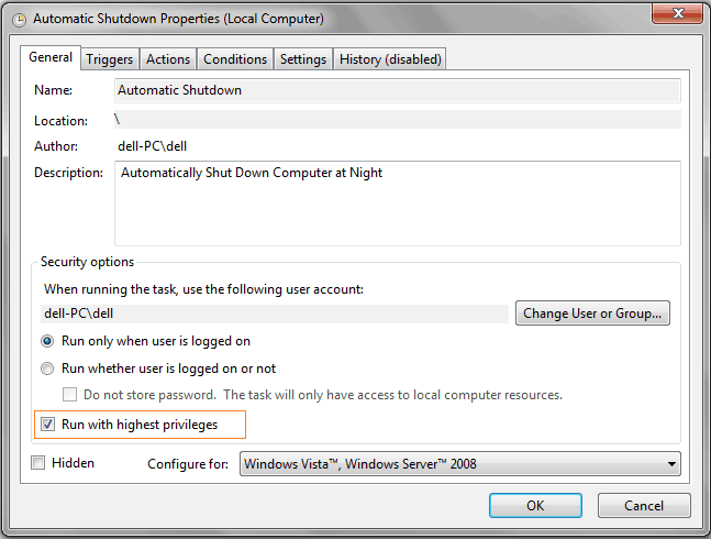 how to automatically shutdown computer
