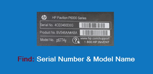 how to find computer serial number and model name