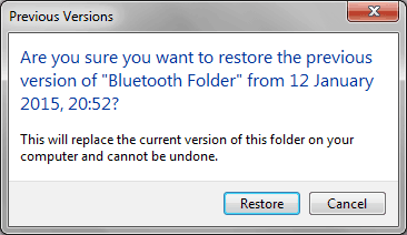 restore previous versions of files