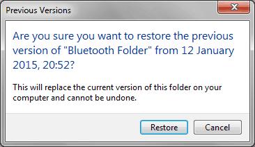 restore previous versions of files