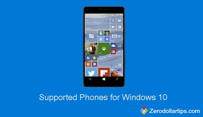 supported phones for windows 10 technical preview