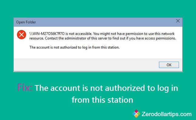 the account is not authorized to log in from this station
