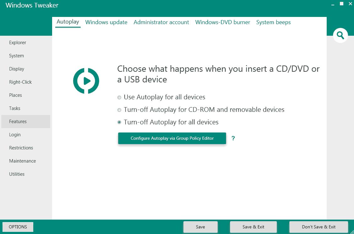 windows tweaker autoplay