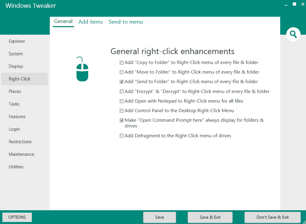 windows tweaker right click