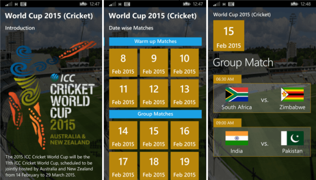 world cup 2015 (cricket) for windows phone