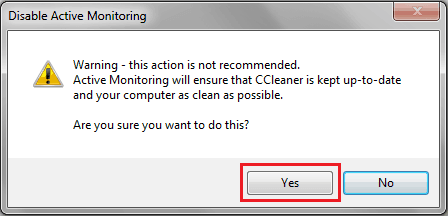 disable ccleaner alert
