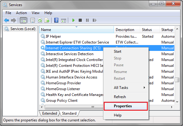 disable internet connection sharing