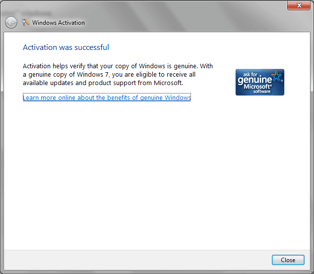 Windows activation status