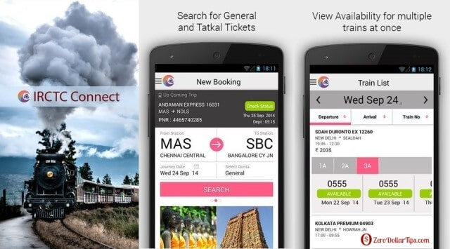book railway tickets using irctc connect android app