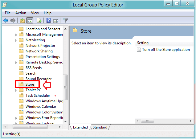 disable windows store using group policy editor