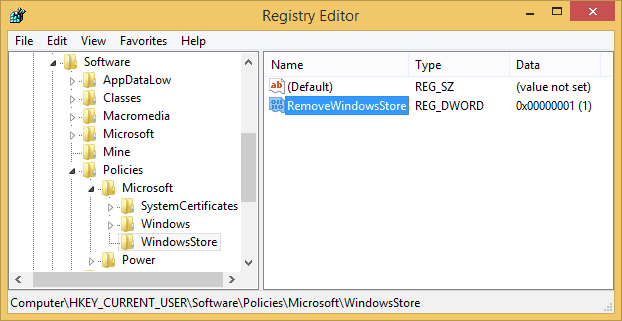 disable windows store using registry editor