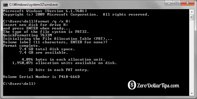 format pen drive using command prompt