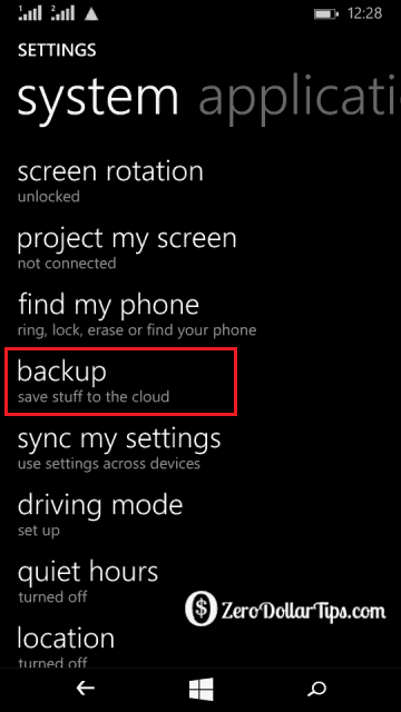 how to back up microsoft lumia 535