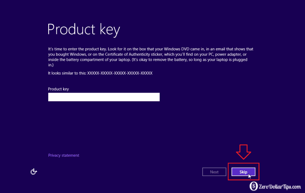 install windows 8 with product key