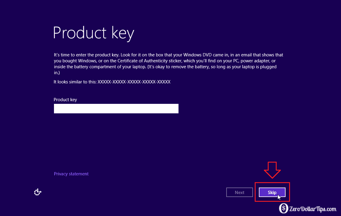 how to install windows 8 without product key