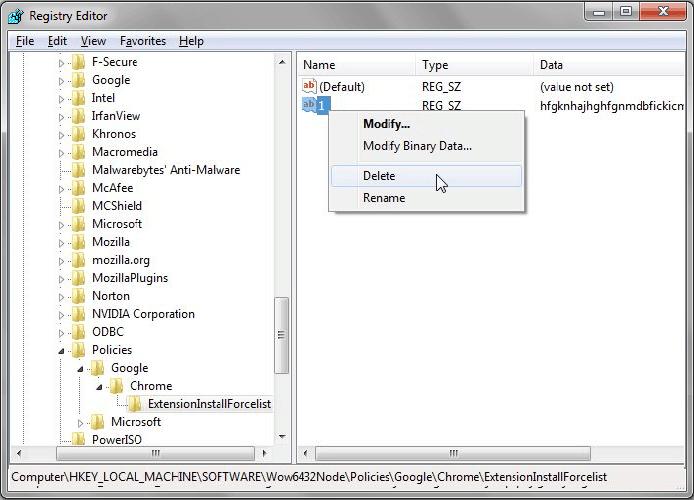 Delete registry key