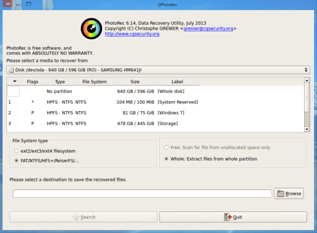 Photorec file recovery 6.14 (free version for mac