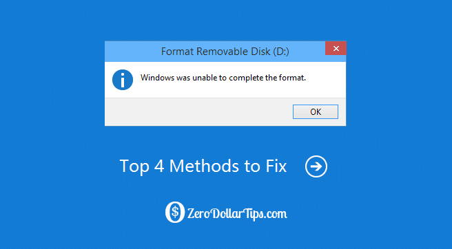 "how to fix ""windows was unable to complete the format"" error"