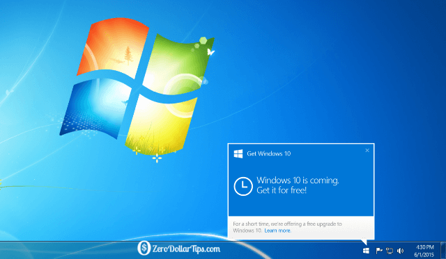 remove get windows 10 app icon from windows 7/8.1 taskbar