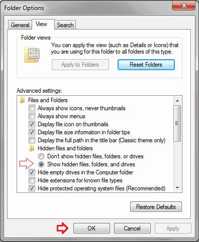 Show hidden files, folders and drives