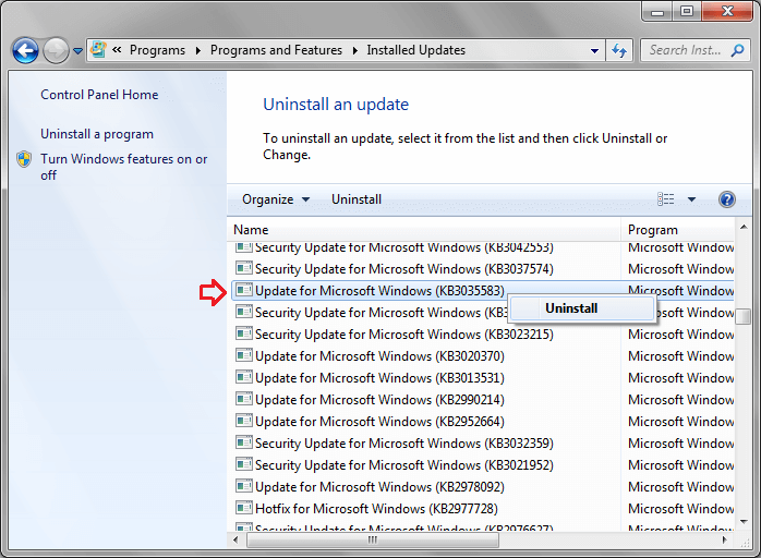 uninstall kb3035583 update