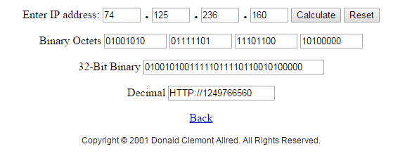 Access Blocked Websites using Decimal Code